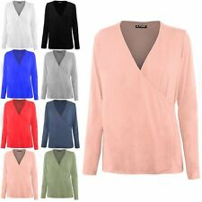 Womens Ladies Front Wrap Over Deep V Neck Long Sleeve Baggy Stretchy Tunic Top