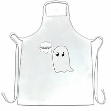 People Walk Right Through Me.. Cute Handdrawn Ghost Funny Pun Apron Cook
