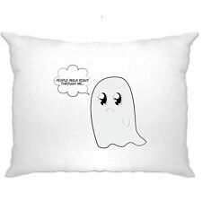 People Walk Right Through Me.. Cute Handdrawn Ghost Funny Pun Pillow Case