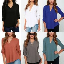 DONNA MANICA LUNGA LARGA MAGLIA CHIFFON estate Scollo a V Casual T-shirt lotto