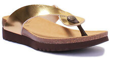 Scholl Kenna Women Toe-Thong Eco Leather Comfort Gold Size UK 3 - 8