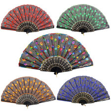 CHIC Spanish Style Dance Wedding Party Silk Sequin Folding Hand Held Flower Fan