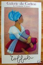 TOFFOLI*AFFICHE*LITHOGRAPHIE*BOUBOU*ART*RARE*CARLTON*GALERIE*CANNES*FEMME*ROSE*