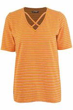 Womens Oversized Ladies Rihanna Stripes V Neck Cross Over Straps Baggy T Shirt