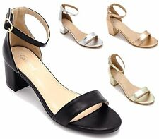 WOMENS FAUX LEATHER BLOCK HEEL ANKLE BUCKLE SANDALS LADIES PEEP TOE PARTY SHOES