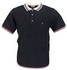 Gabicci Vintage Retro Navy Knitted Basket Weave Polo