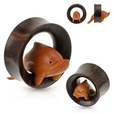 TOP! Holz Delfin Plug Flesh Tunnel Piercing Natur 3D Dolphin Double Flared Wood