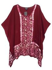 EAONPLUS WINE EMBROIDERED BATIK PRINT KAFTAN TUNIC 16 18 20 22 24 26 28 30 32 34