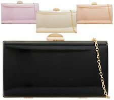 LADIES METALLIC HARDCASE CHAIN PROM PARTY EVENING BRIDAL OCCASION CLUTCH BAG