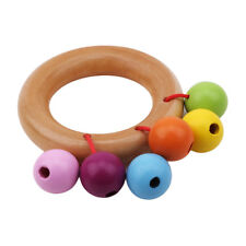 Colorful Wooden Rattle Bell Toy Handbell Musical Education Percussion Instrument