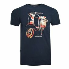 MENS LAMBRETTA SCOOTER PRINT CREW NECK COTTON T-SHIRT SS 3810 - NAVY BLUE
