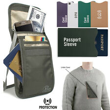 RFID Travel Secure Passport Neck Pouch Money Wallet Holder Bag Card Sleeves
