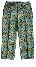 ZARA Woman BLUE YELLOW FLORAL Jaqcuard Cropped Pants Trousers S £39.99
