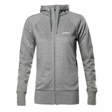 Asics Knit Zip Up Grey Cotton Womens Training Hooded Jacket 109872 0714 R18J