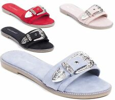 LADIES SANDALS FLAT HOLIDAY BUCKLE EVENING SLIPPERS FLIP FLOP SUMMER SHOES