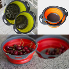 Silicone Collapsible Colander Food Fruit Vegetable Draining Strainer Handle