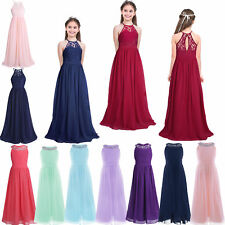 Girls Long Lace Flower Dress Kids Gown Communion Wedding Bridesmaid Formal Party