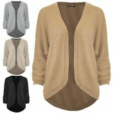 Womens Ladies Cape Cardigan Ribbed Knitted Batwing Open Front Poncho Sweater Top