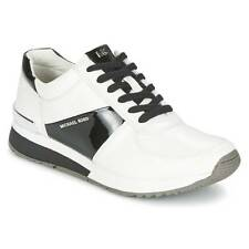 NWB Michael KORS Allie Trainer Leather Sneakers White Black Size 9.5 11 US