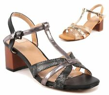 WOMENS FAUX METALLIC LEATHER STRAPPY BLOCK HEEL PEEP TOE SANDAL PARTY SHOES 3-8