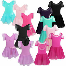 Girls Gymnastics Dancing Dress Kids U Back Ballet Tutu Leotard Skirt Dance wear