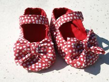 HANDMADE Baby Girls Red Cotton Shoes Pram Shoes Soft Sole Shoes Spotty Shoes