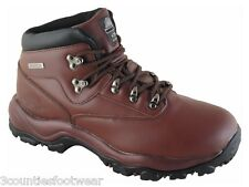MENS HIKING BOOTS - GENTS WALKING BOOTS  WATERPROOF LEATHER BROWN
