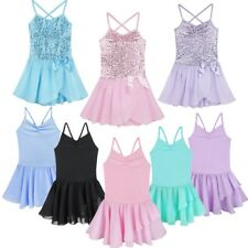 Kids Girls Sequined Camisole Ballet Dance Tutu Dress Sweetheart Leotard Costume