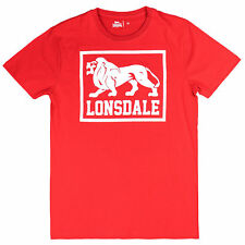 Lonsdale Maglietta Uomo East Haddon Red Stampa Frontale Bianco S M L XL XXL 3XL