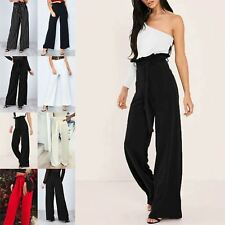 Ladies Womens Palazzo Leg Monochrome Strip High Waisted Belted Pockets Trousers