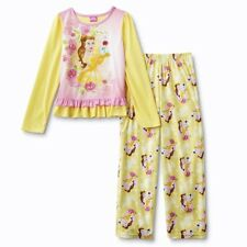 BELLE Beauty and the Beast Girls Pajamas Size 6-8 Disney Princess Long Sleeve