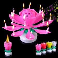 Musical Birthday Candle Rotate Sparkling Blossom Lotus Flower Cake Topper Decor