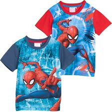 Spiderman Marvel Ragazzi Top a Maniche Corte Estate Cotone T-Shirt 2-8 Anni