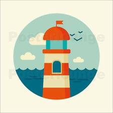 Póster, lienzo o cuadro en metacrilato Lighthouse in a circle - Kidz Collection