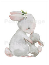 Poster, stampa su tela o vetro acrilico Cute white bunnie... - Kidz Collection