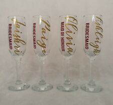 personalised champagne flutes, Wedding Glasses, Bridesmaid Gifts, Hen Party,