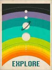 Poster / Toile / Tableau verre acrylique THE SOLAR SYSTEM - Jazzberry Blue