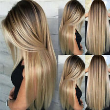 61cm Femmes Ombre Blonde Perruque Cheveux Longs Lisses Synthétiques Cosplay +