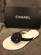 CHANEL 16S Tweed Camellia Flower Leather Thong Flip Flop Flat Sandals Shoes $700