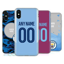 CUSTOM MANCHESTER CITY FC 2017/18 LOGO KIT CASE IN GEL PER APPLE iPHONE TELEFONI