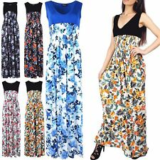 New Womens Sexy Ladies Beach Party Contrast Floral V Neck Summer Maxi Dress