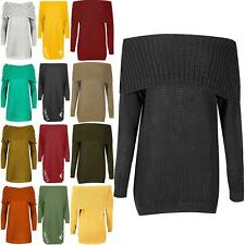 Womens Cable Knit Rib Off The Shoulder Ladies Long Sleeve Cuff Bardot Jumper Top