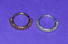 STERLING SILVER OR ROSE GOLD PLATED BEADED SEAMLESS SEPTUM RING 1 MM GAUGE
