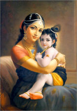 Poster, stampa su tela o vetro acrilico Krishna with his beautiful mother Yasoda