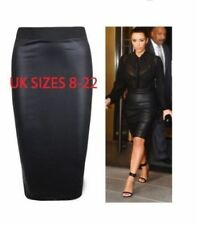 WET LOOK FAUX LEATHER PENCIL WIGGLE BODYCON HIGH WAISTED MIDI SKIRT UK 8-22 SIZE