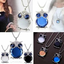 Lovely Rhinestone Owl Animal Pendant Necklace Women Sweater Chain Jewelry Gift