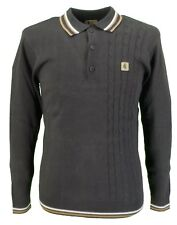 Gabicci Vintage Brown Side Weave Knitted Polo