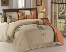Chezmoi Collection 7-Piece Bamboo Floral Embroidery Comforter Set, Beige/Rust