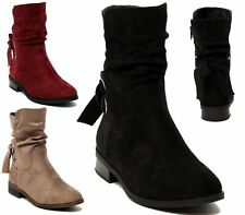 NEW WOMENS LADIES FLAT FAUX SUEDE SLOUCH LOW HEEL CASUAL ANKLE BOOTS SIZE