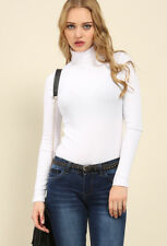 BANG ON THE TREND WHITE TURTLE POLO NECK FINE RIBBED LONG SLEEVE TOP SIZE 8-14